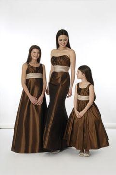 Cream and brown bridesmaid dresses