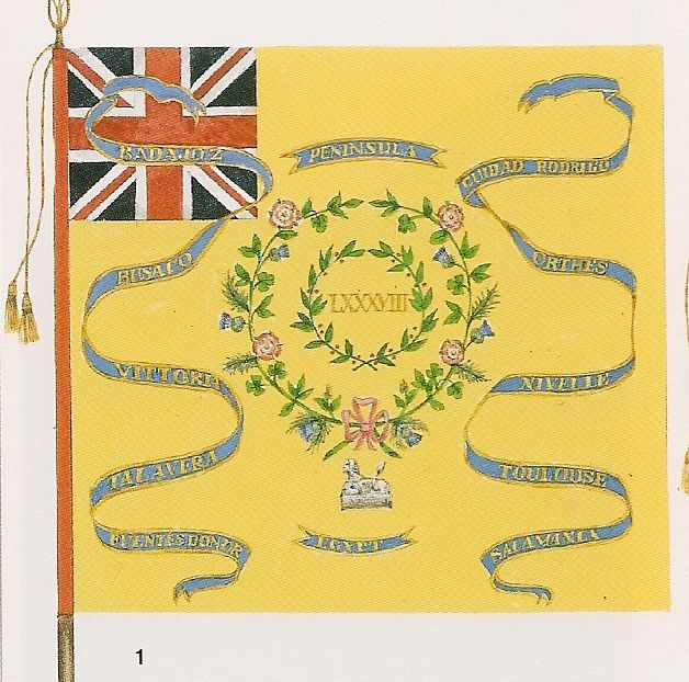 Regimental Colour  of the 88th (Connaught Rangers) Regiment of Foot- 1817. The First Battalion was part of Major-General F.P. Robinson's First Brigade at Plattsburgh in September 1814. It was in Lower Canada from August 1814 to June 1815----(First Brigade- 3/27th Foot, 1/39th Foot, 76th Foot, 1/88th Foot)