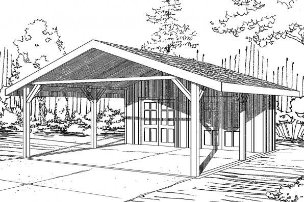 Carport Plan with Storage 20-094 from Associated Designs