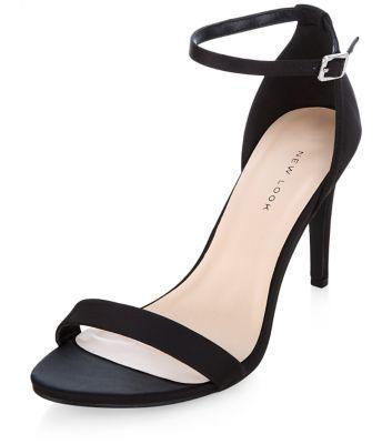 Black Satin Ankle Strap Heels