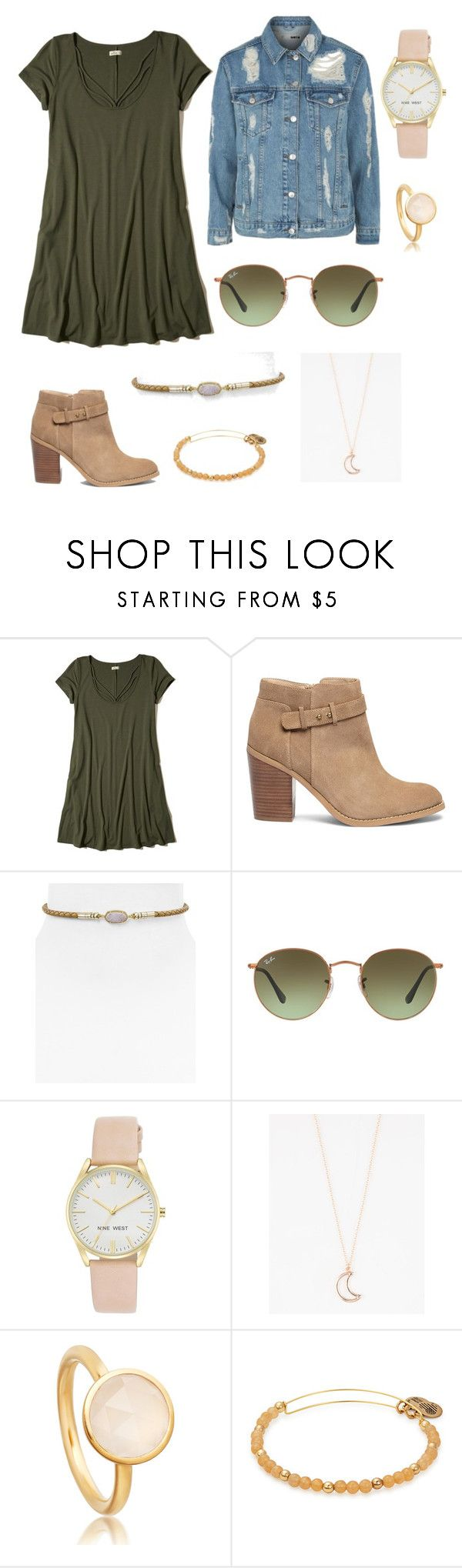 """Untitled #2"" by faithcalvert1211 ❤ liked on Polyvore featuring Hollister Co., Sole Society, Kendra Scott, Ray-Ban, Nine West, Full Tilt and Topshop"