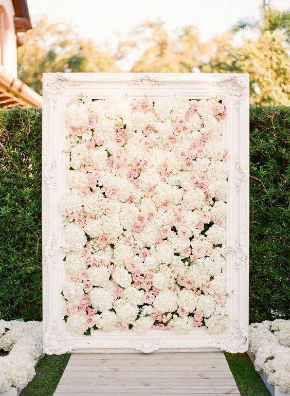 blush and white wedding flower ceremony idea via KT Merry