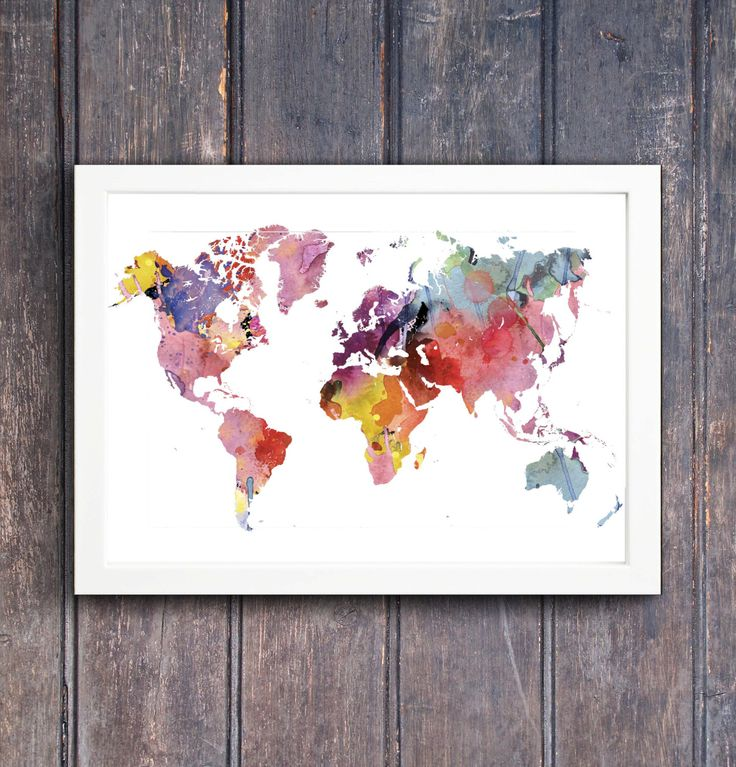 Aqua Large Travel World Map, Digital Printable Map with Watercolor - copy rainbow world map canvas