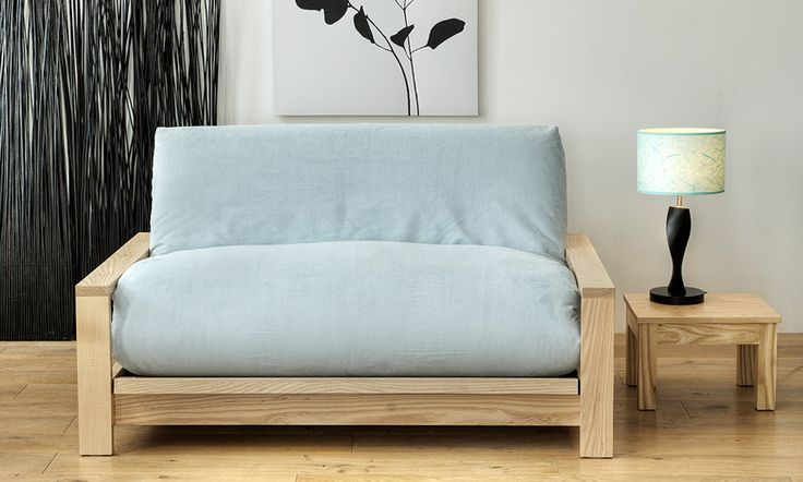 Cheap futon sofa beds in wood design and wood table