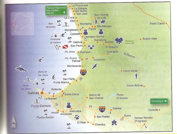 map from guayaquil to vilcabamba | Map of South Ecuador Coast: Montanita, Olon, Salinas Ecuador Map