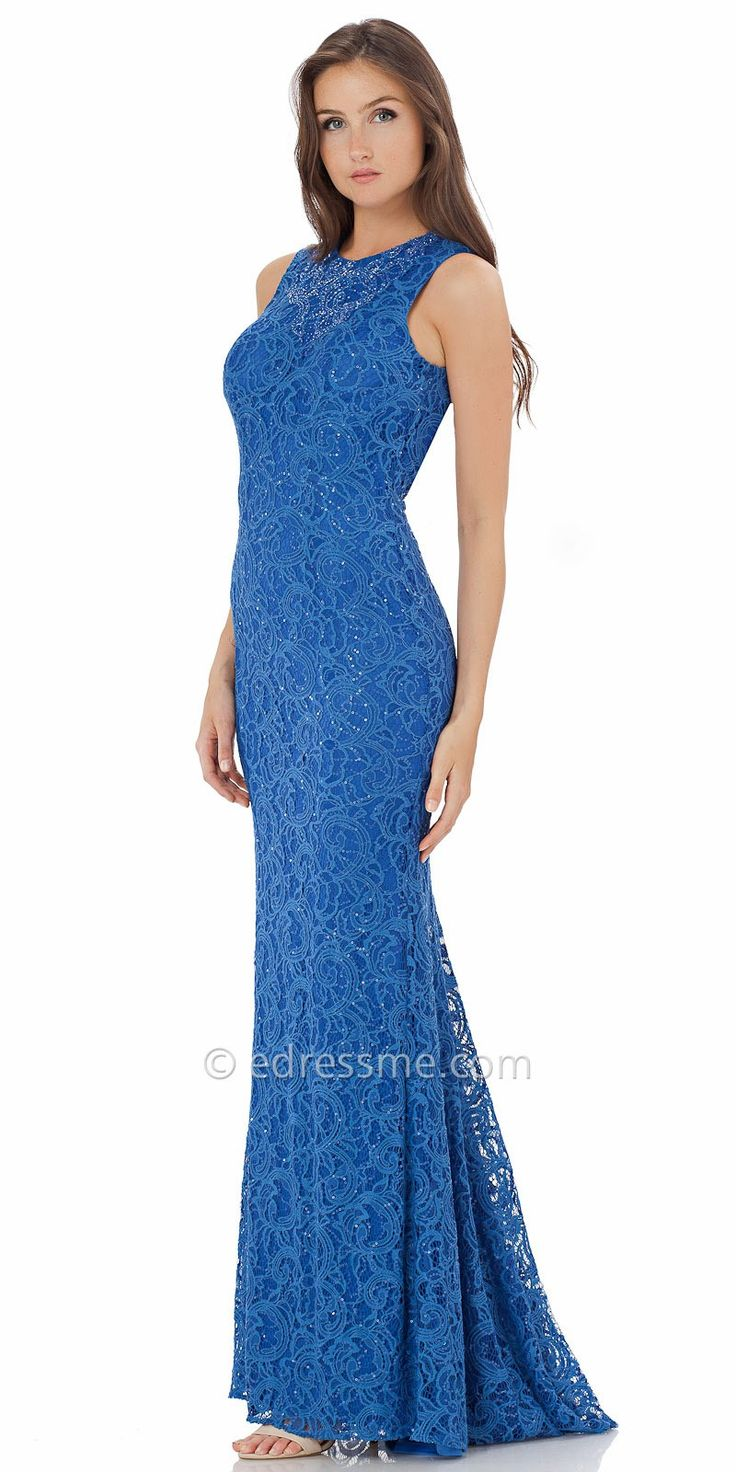 Open Keyhole Lace Evening Dress By Carmen Marc Valvo Infusion