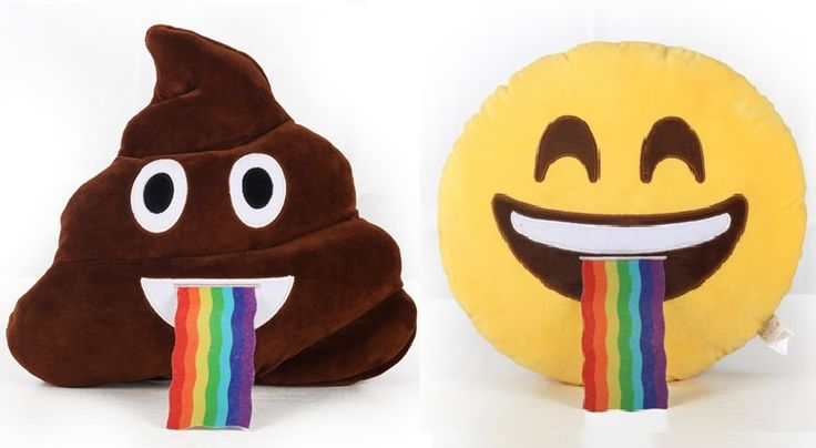 emojicon pillows vomit rainbow... I NEEEEEED the poop one! :D :D :D ❤️❤️❤️