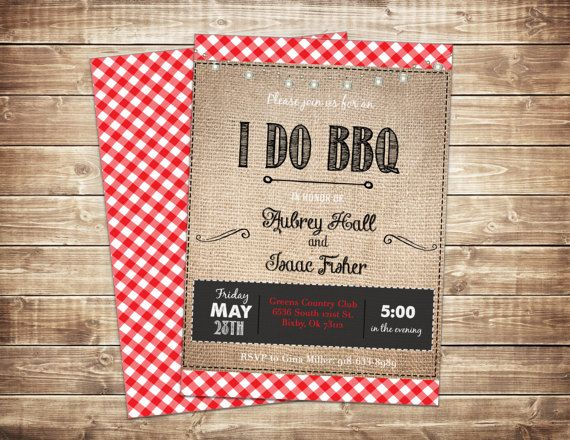 I Do BBQ Invitation Printable, Couples Shower, Rehearsal Dinner, Picnic, Rustic