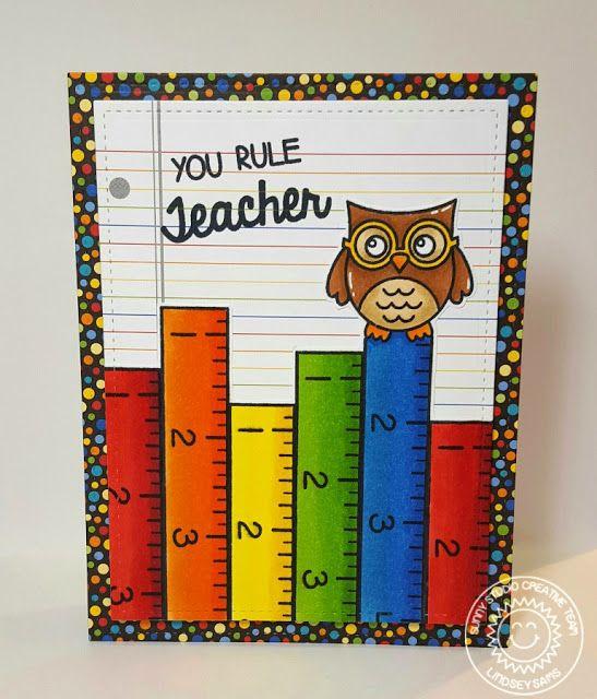 "Sunny Studio Stamps: School Time & Woo Hoo Owl ""You Rule"" Teacher Card by Lindsey Sams."