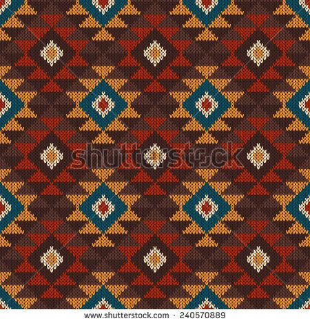 Tribal Aztec Pattern on the wool knitted texture. Seamless background