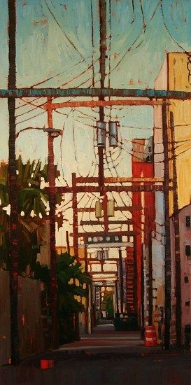 """Downtown Alley"" - René Wiley by Rene' Wiley Gallery Oil ~ 40 x 20"