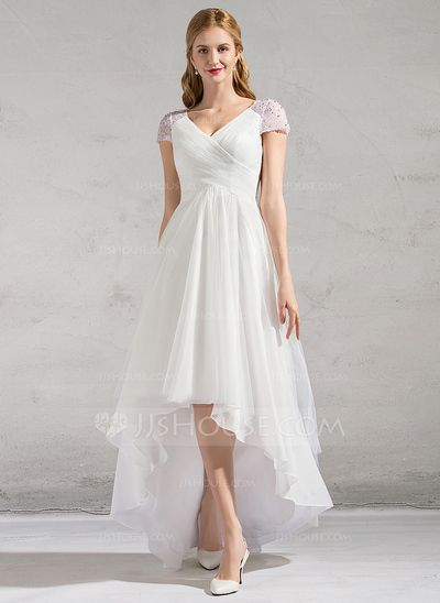 A-Line/Princess V-neck Asymmetrical Ruffle Beading Sequins Zipper Up Sleeves Short Sleeves Beach General Plus No Spring Summer Fall Ivory Tulle Wedding Dress