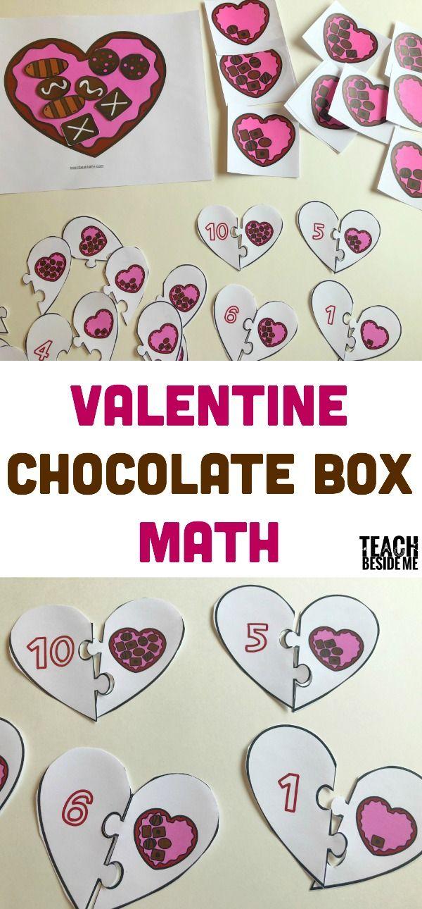 Valentine Chocolate Box Math- Counting and Numbers via @karyntripp