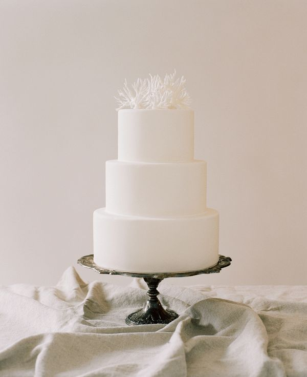 DIY Simple white coral cake topper. Beautiful
