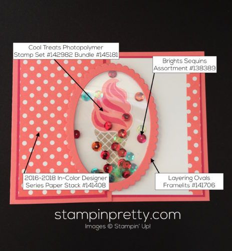 Cool Treats stamp set shaker birthday card.  Mary Fish, Stampin' Up! Demonstrator.  1000+ StampinUp & SUO card ideas.  Read more http://stampinpretty.com/2016/11/sneak-peek-of-cool-treats.html