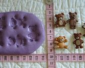 5 pcs Teddy Bear Collection Food Safe Silicone Mold Cake Tool Fondant Gumpaste Pastillage Chocolate Candy Sugarcraft Resin Plaster Clay Wax