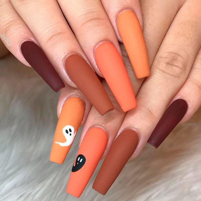39 Cool And Easy Halloween Nail Ideas Halloween Nails Easy Halloween Acrylic Nails Fall Acrylic Nails