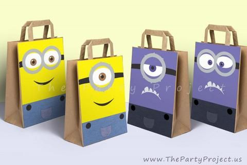 DIY PRINTABLE Minions party bags decoration | Despicable Me birthday party or Baby shower Favor bag decor!