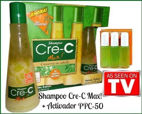 SHAMPOO CRE-C MAX GINSENG HAIR LOSS SYSTEM + PPC 50 by Shampoo Crec Max + PPC 50. $42.75. hair growth. ppc50. hair loss. crece. cre-c max. Product Features With a natural origin , shampoo CRE-C MAX finds its strength on mexican herbs and plants , its formula against hair falling was developed totally by natural extracts. Product Description Each bottle of shampoo Cre-C Max was elaborated by more than 1 kilo of plants like Ortiguilla , Nettle , Espinosilla and Aloe Vera ,...
