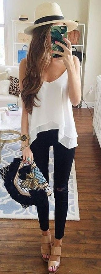#summer #popular #outfitideas | Black + White