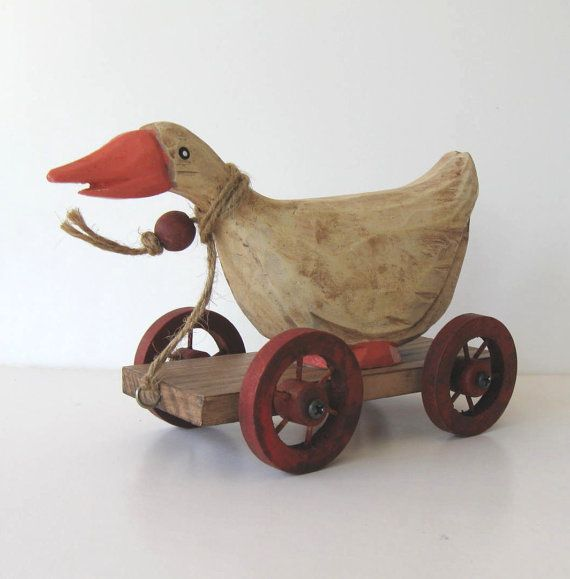 Vintage Wood Pull Toys | Vintage Wooden Duck pull toy Primitive Folk by jewelryandthings2