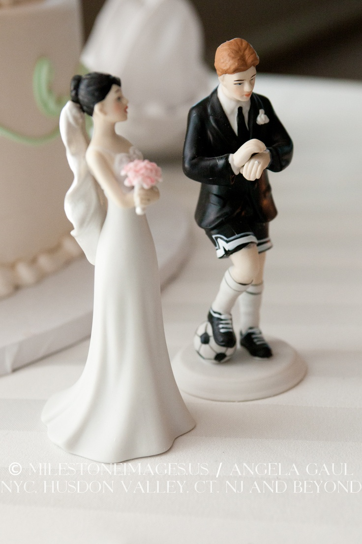 Humorous Cake Topper With Soccer Playing Groom But I