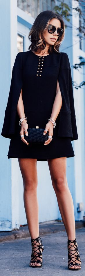 Everything Black Cape Dress Fall Inspo by Vivaluxury