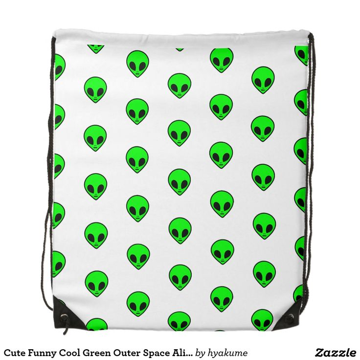Alien Faces Cute Funny Grunge Aesthetic Cool Green Outer Space Alien Pattern Drawstring Bag
