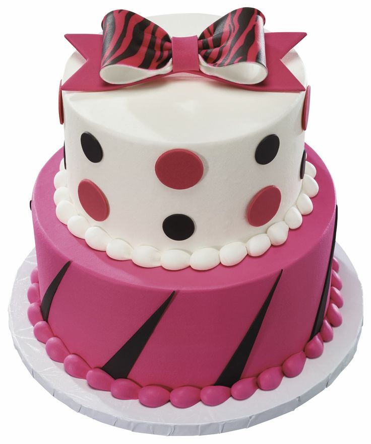 Pink Animal Print Stacked Cake with fondant dots and gum ...