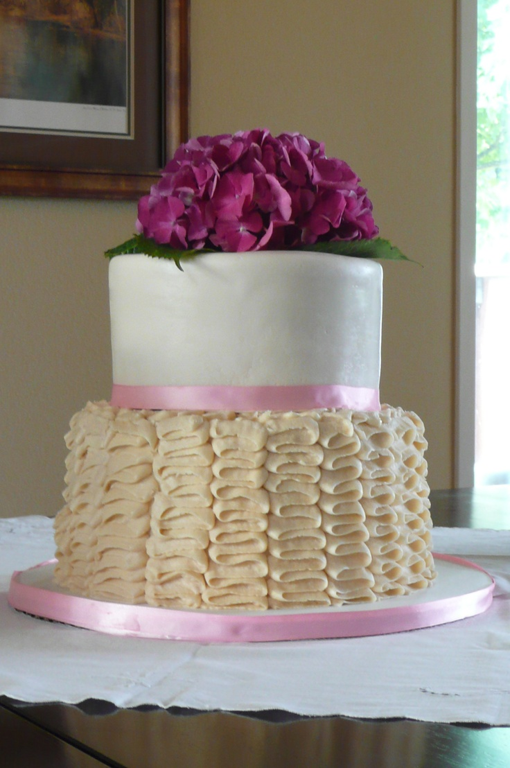Two Tier Wedding Cake Champagne With Strawberry Filling And Vanilla Buttercream Bottom