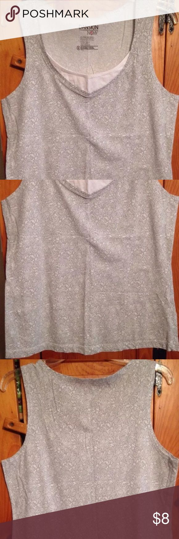 "DANSKIN GRAY ATHLETIC TANK TOP Women's XXL 20 Excellent condition gray and white paisley print athletic work-out tank top by DANSKIN! Size women's XXL (20). Chest: 19"" lying flat pit to pit Length: 26"" Material: 95% cotton, 5% spandex Danskin Now Tops Tank Tops"
