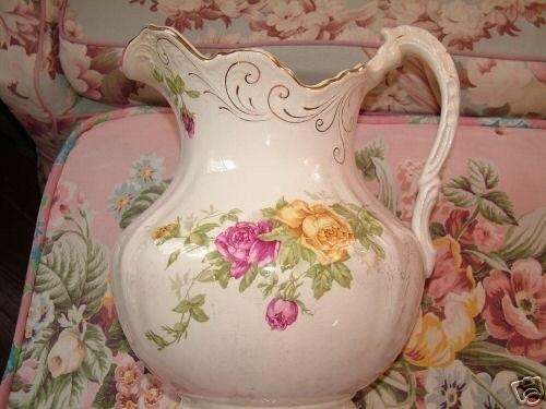 Victorian bowl pitcher set Buffalo pottery PINK ROSES   #20836604
