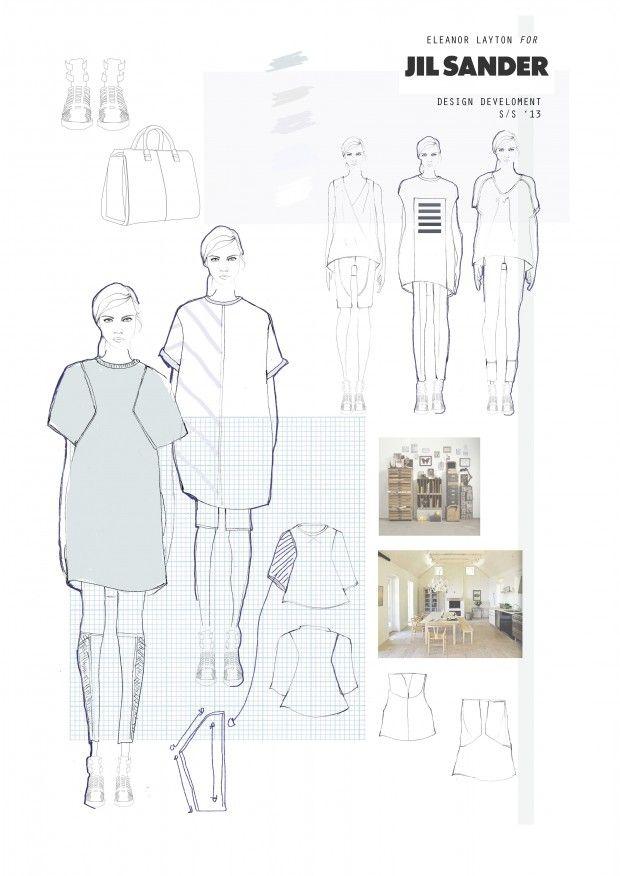 Fashion Portfolio - Jil Sander project, fashion design development board - fashion sketchbook; fashion illustration // Eleanor Layton