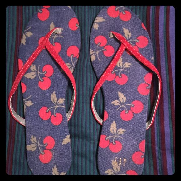 d5b8f770f Gap Fabric Leather Flip Flops Size 9 Genuine Gap flat fabric flip flops.  Red cherries in blue background In color. Gently used. Women …