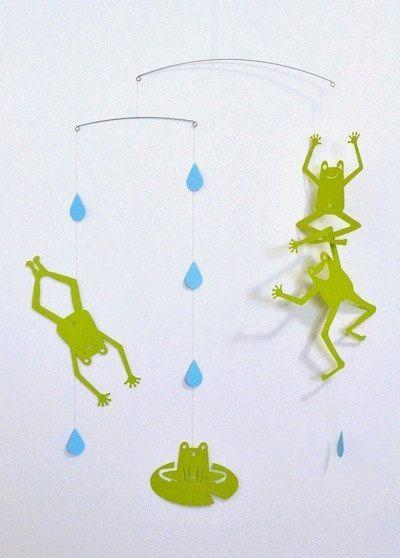 Green funny Frog Mobile for children boy girl kids by hiramariya, ¥2500