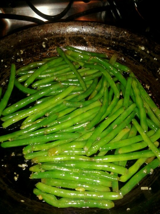 Delicious side dish idea.- sauteed green beans with melted butter, garlic, olive oil, salt, pepper, and Alittle fresh parmesan cheese.