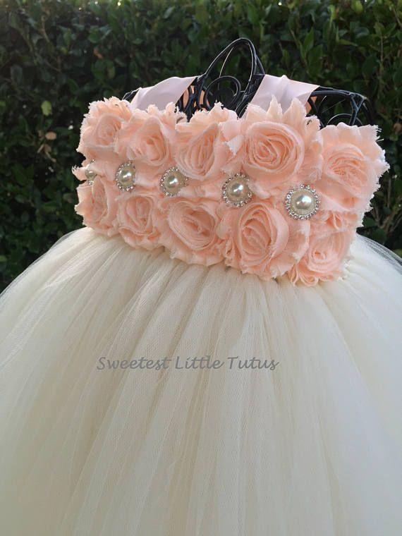Peach and Ivory Flower Girl Tutu Dress/ Peach Flower Girl