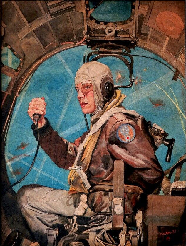 """Bombs Away"" by C. C. Beall, used as the artwork for a 1944 Army Air Forces poster"
