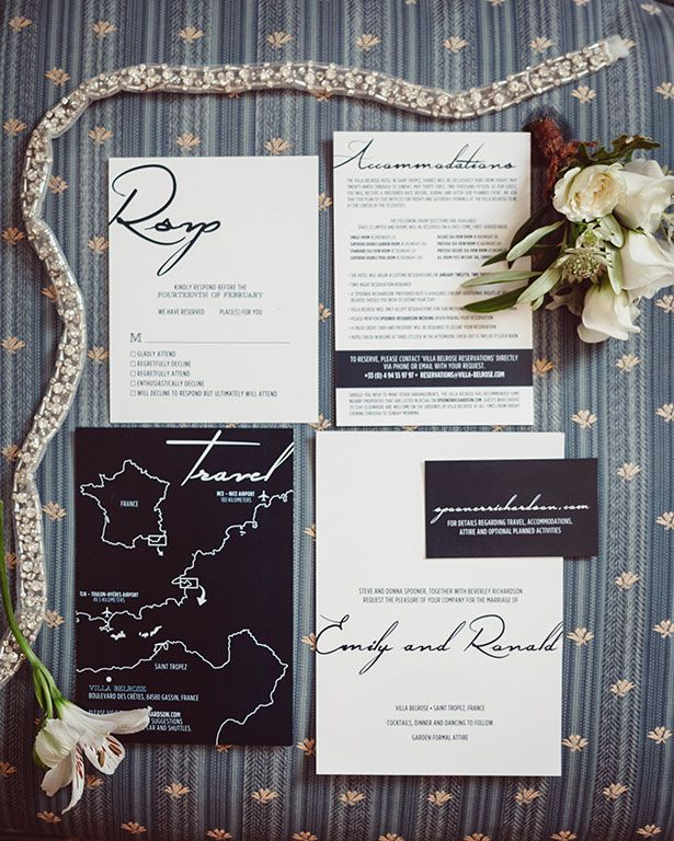 PHOTOGRAPHY Joel + Justyna Bedford; St. Tropez Wedding Marriage Villa Belrose; elegant invitation suite