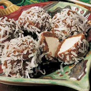 Snowball Recipe -I've been making these popular treats for 40 years, much to my family's delight. They look impressive with chocolate and coconut wrapped around a chewy marshmallow center, yet they're surprisingly simple to assemble.