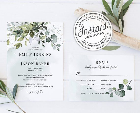 Watercolor Boho Greenery Wedding Invitation Template Suite With Eucalyptus Leaves Instant Download Printable Editable Template 027 Greenery Wedding Invitations Wedding Invitation Templates Blush Wedding Invitations