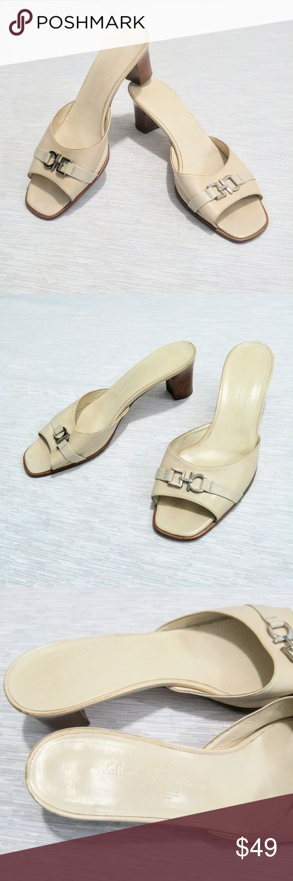 Salvatore Ferragamo Cream Heeled Sandals size 10 Pre-loved Salvatore Ferragamo Boutique heeled sandals Made in Italy. Cream tone leather with silver logo embellishment. Some wear as pictured. Size is worn off, but I believe they are size 10 (possibly 10.5). Last photo shows them pictured next to another pair of size 10 sandals. The measurements almost identically match the size 10. Some scuffing around the back of footbed is the biggest flaw.  Shipped within 24 hours. Offers welcomed and…