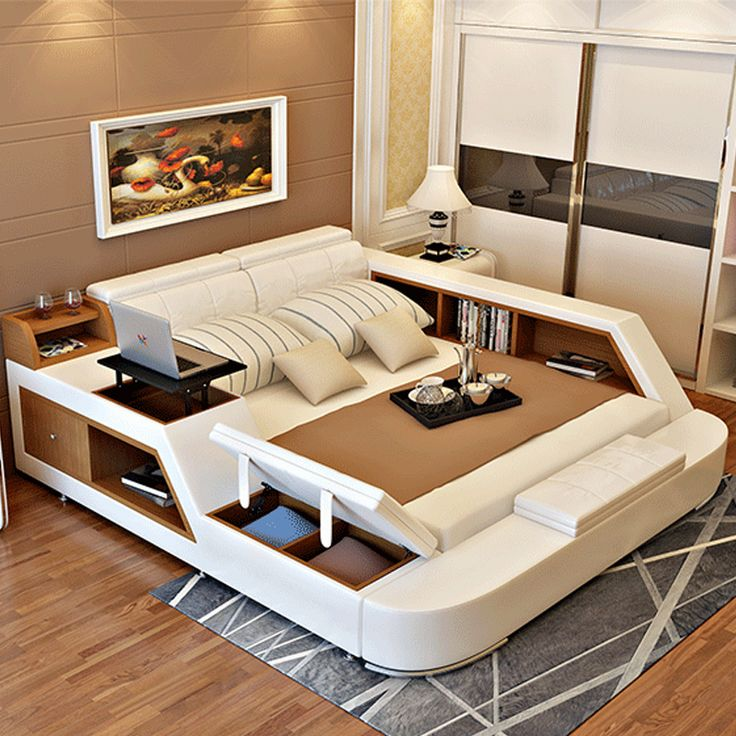 Luxury Bedroom Furniture Sets Modern Leather Queen Size Double Bed With  Storage Bookcase Cabinets Bed Tail