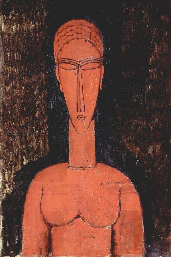 —> Amedeo Modigliani Rote Bueste Bild auf Leinwand / Acrylglas / Kunstdruck kaufen im Online Shop