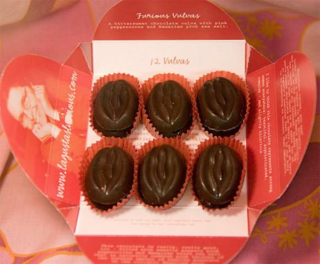Chocolate Vulvas - with pink peppercorns and pink seas salt