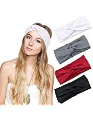 DRESHOW 4 Piece Ladies Elastic Flower Printed Headbands 1950 Archaist Women Cotton Knitted Twisted Soft Turban Head Wrap # 2