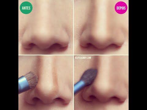 Como Afinar o Nariz com Maquiagem - YouTube