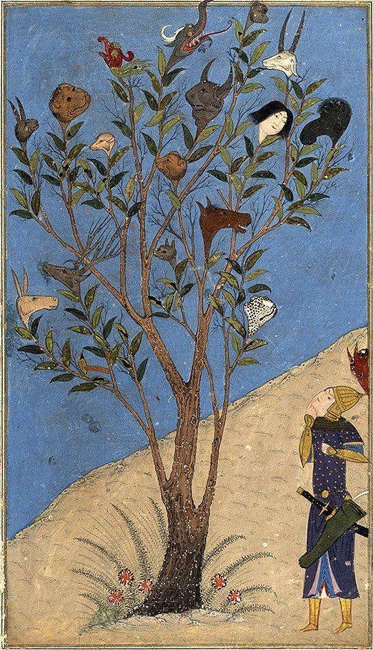 Alexander the Great contemplates the talking Tree, Nasr al-Soltani, 1430.