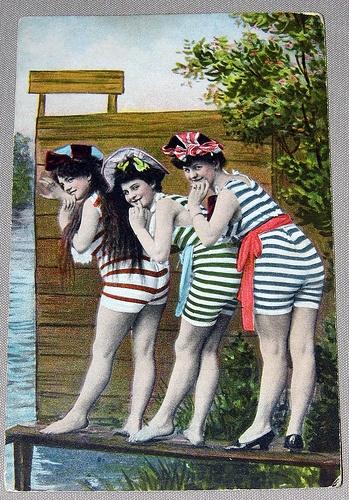 """Vintage """"Bathing Beauties"""" Postcard, Made in Germany."""