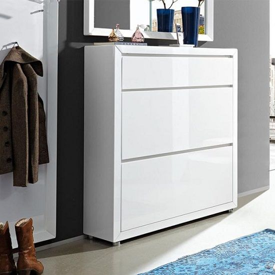 Best Fino Shoe Cabinet In White Gloss Hallway Furniture 400 x 300